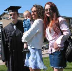 Dale, at his college graduation with my daughter, Elisa and me holding my grandson, Kaydin born April 13, 2005