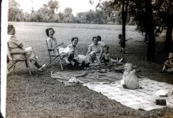 Katy Shankland, Mrs Ried?, Mary Taylor?, ?, Claudia Reid, Reid Children? Rhonda in foreground Gordon to right. 4th of July 1948 Spring Rock Park, Wi