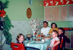 Xmas dinner 1953. I laughed when I saw this picture as the new 2 tone cassorole was used at the last Xmas dinner that mom attended at my home. It was always used to make sweet potatoes with marshmellows on top.
