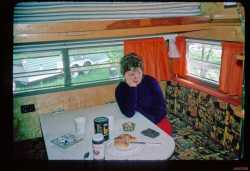 Sharon in her camper.