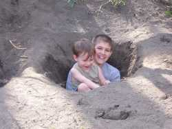 Mac and Cory in Cory's hole!!!!  Boys are so odd!!!!