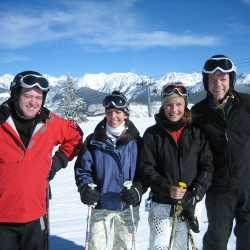 skiing with friends opening day in Vail